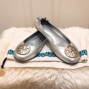 RARE Tory Burch Silver-silver leather flats 7.5M